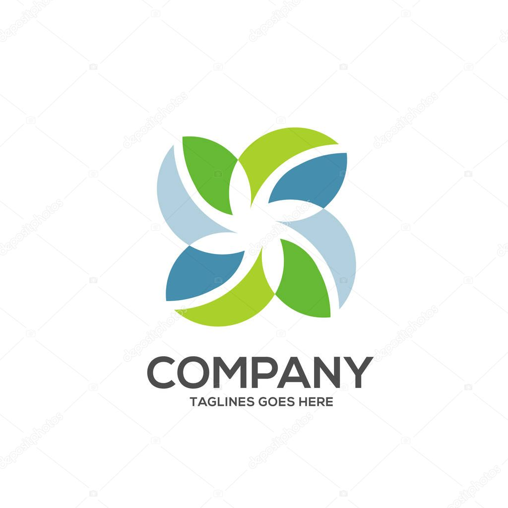 Eco environment green leaf nature community logo vector, Nature green leaf vector logo logotype