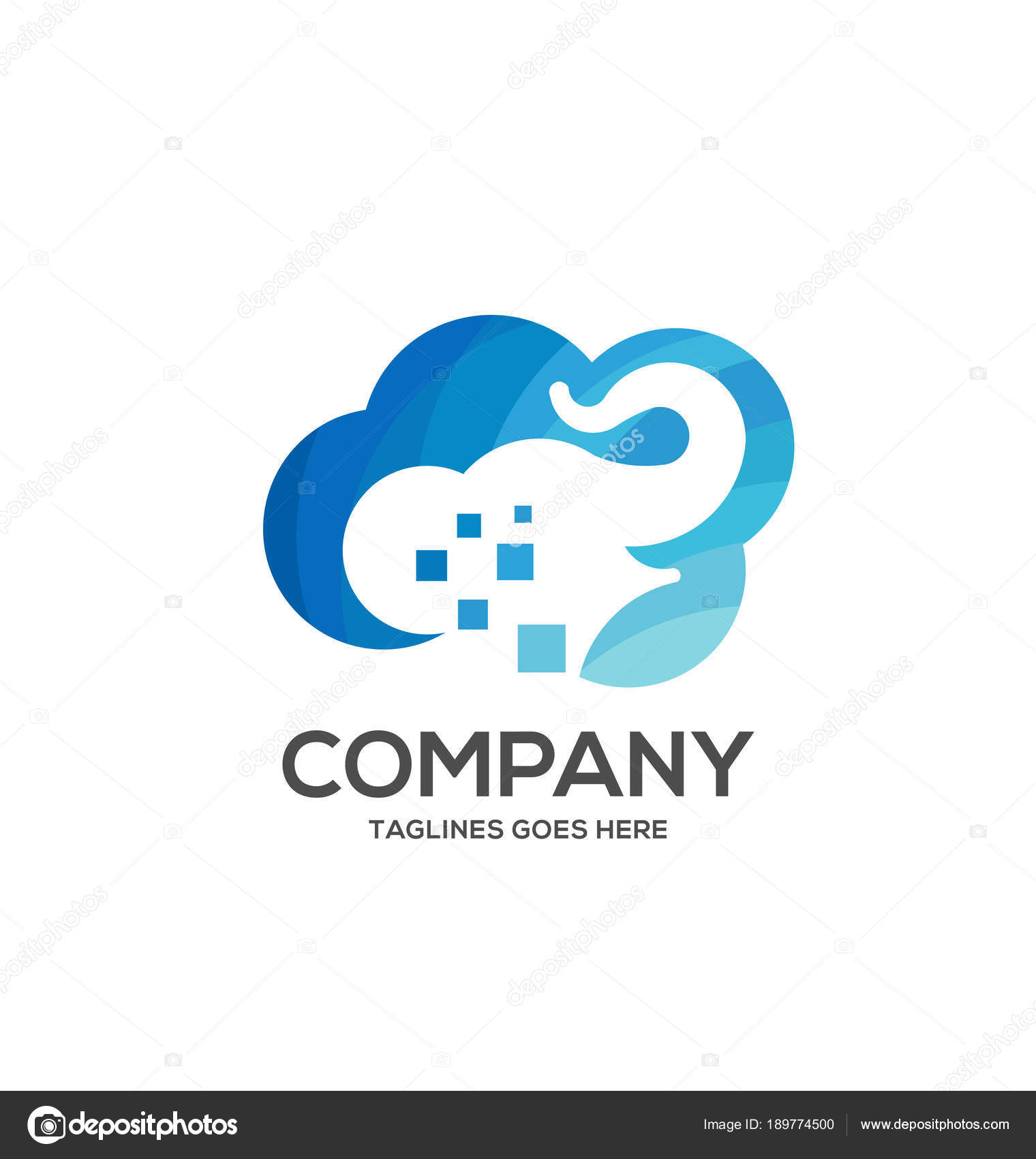 Elephant Logo Blue Cloud Symbol Big Data Cloud Logo Big Stock