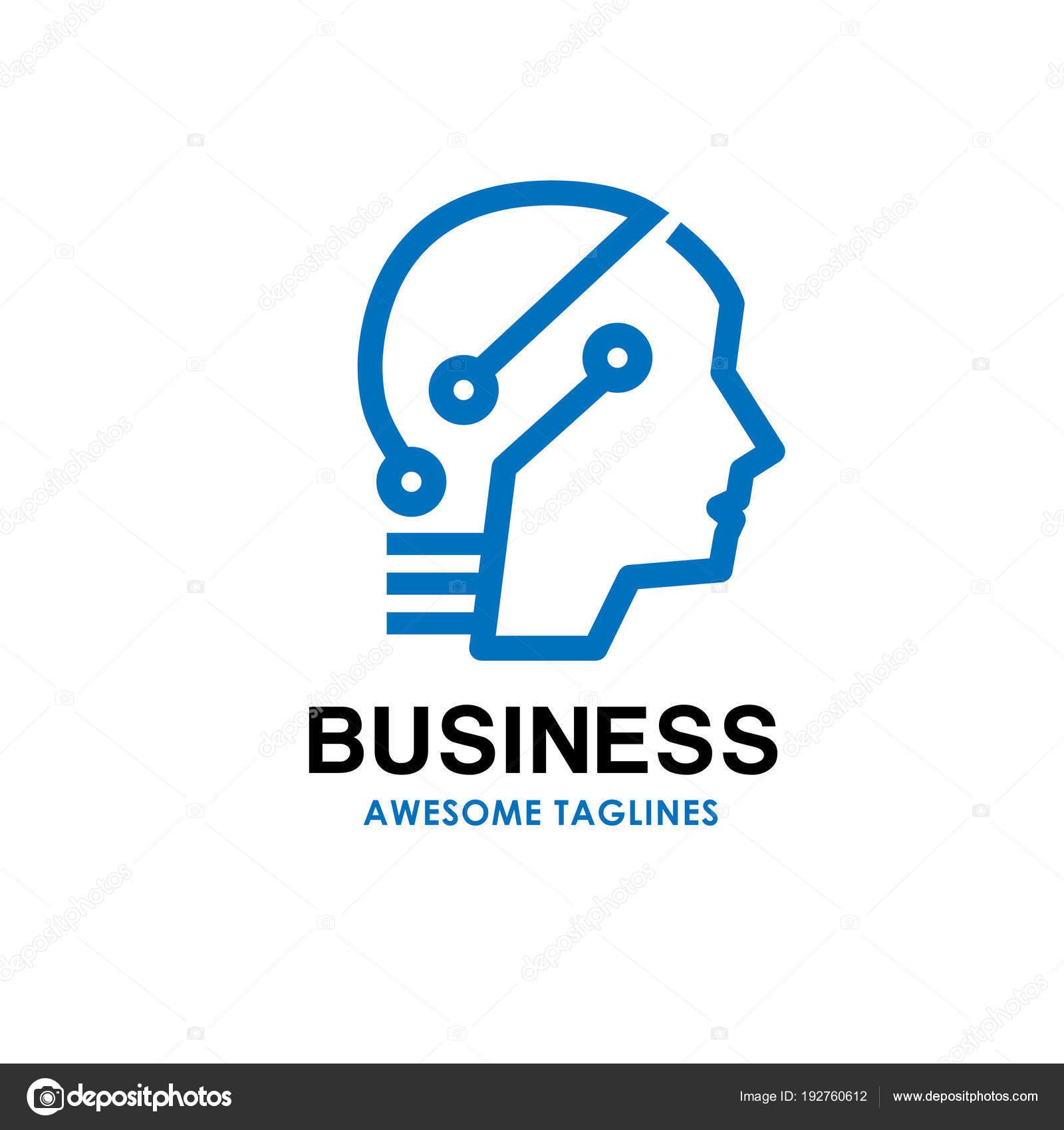 Smart Human Head Logo Digital Human Vector Logo Concept