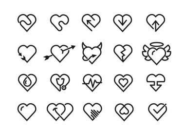 Heart line icons. Styling heart decoration elements, love and friendship symbols and outline lovely pictograms vector isolated icons set icon