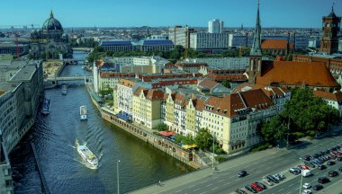 Aerial view of Berlin along Spree river in summer, Germany