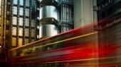 LONDON, UK - APRIL 5: Traffic cars on City, Lloyd building, on April 5 in London, UK. long exposure
