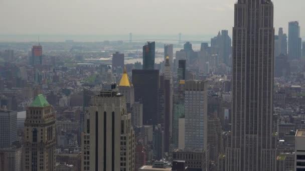 New Yorku Manhattan skyline budov široký záběr reálném čase Panorama, Ultra Hd 4k