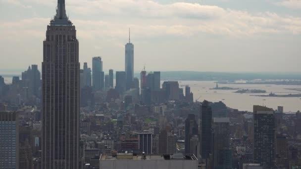 New Yorku Manhattan skyline budov široký záběr reálném čase Panorama, Ultra Hd 4k,