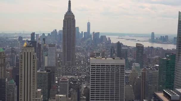 New York City Manhattan skyline buildings wide shot real time skyline, ULTRA HD 4K,