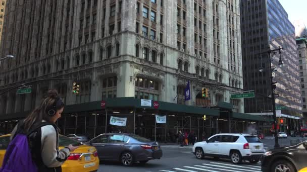 New York City, circa 2017: The Woolworth Building,Broadway, one of the 100 tallest buildings in the United States as well as one of the 30 tallest buildings in New York City, ultrahd4k,real time