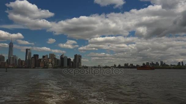 New York, cca 2017: Manhattan slavné Staten Island trajektem panorama New York, Usa, v reálném čase, ultra hd 4k