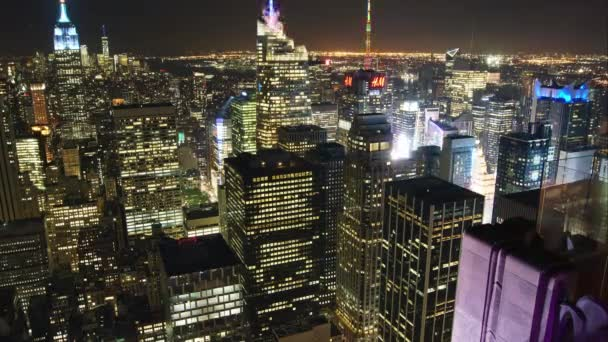 NEW YORK CITY - June 24, 2017: Aerial view of Manhattan skyline. Time lapsed view of the famous New York buildings in night with light effects.