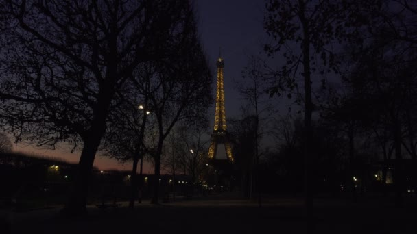 PARIS, FRANCE - circa 2017: Eiffel Tower Light Performance Show at Dusk. The Eiffel tower is the most visited monument of France. View on Eiffel Tower Light Beam Show in Paris.