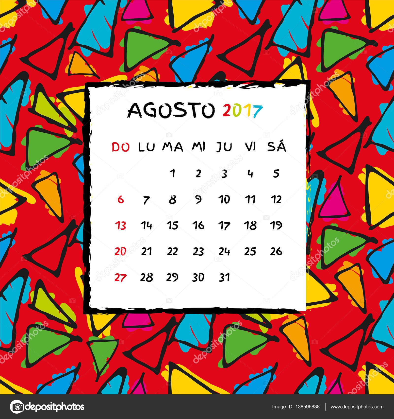 Spanish Calendar 2017 Template Stock Vector Firehourse 138596838