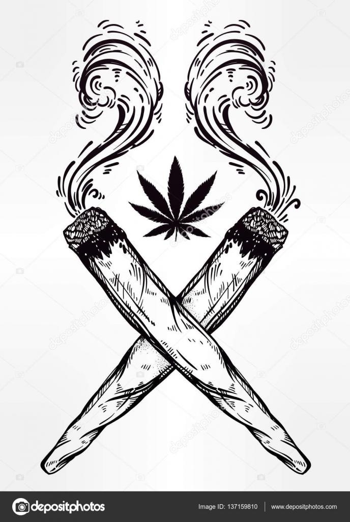 Deux joints crois s contre les mauvaises herbes avec une feuille de cannabis image vectorielle - Dessin feuille cannabis ...