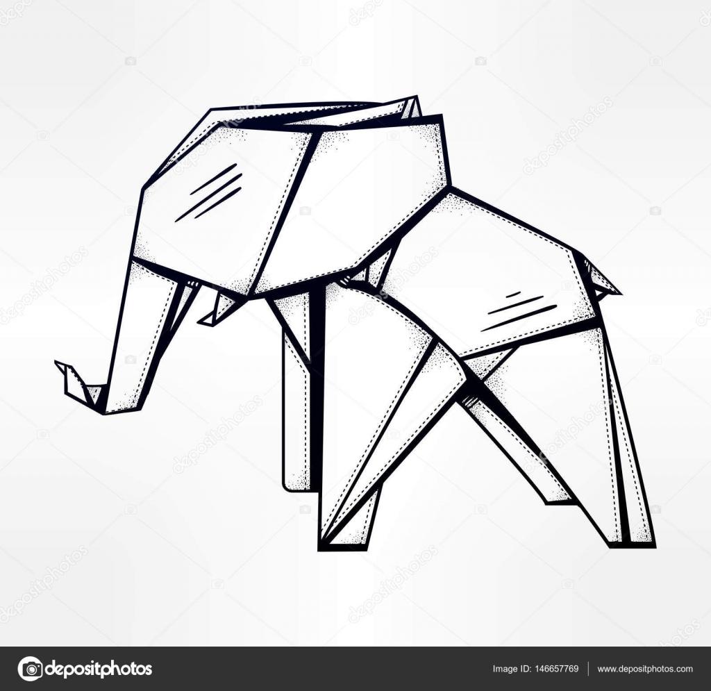 Elefante de origami patrón geométrico — Vector de stock © Katja87 ...