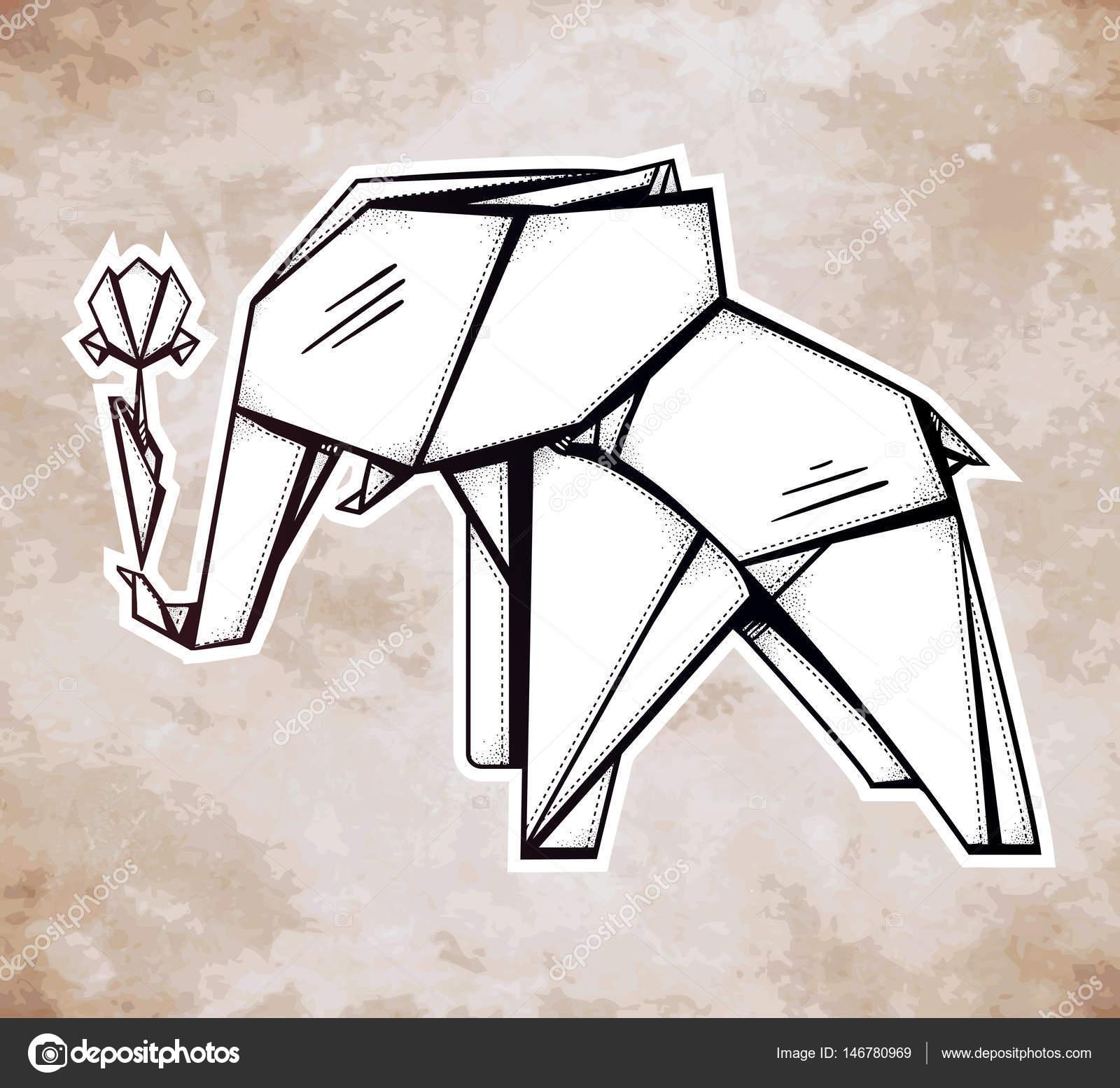 Geometric pattern origami elephant with flower stock vector geometric pattern origami elephant holding a flower stylized triangle polygonal model tattoo spirituality boho design use for print posters jeuxipadfo Choice Image