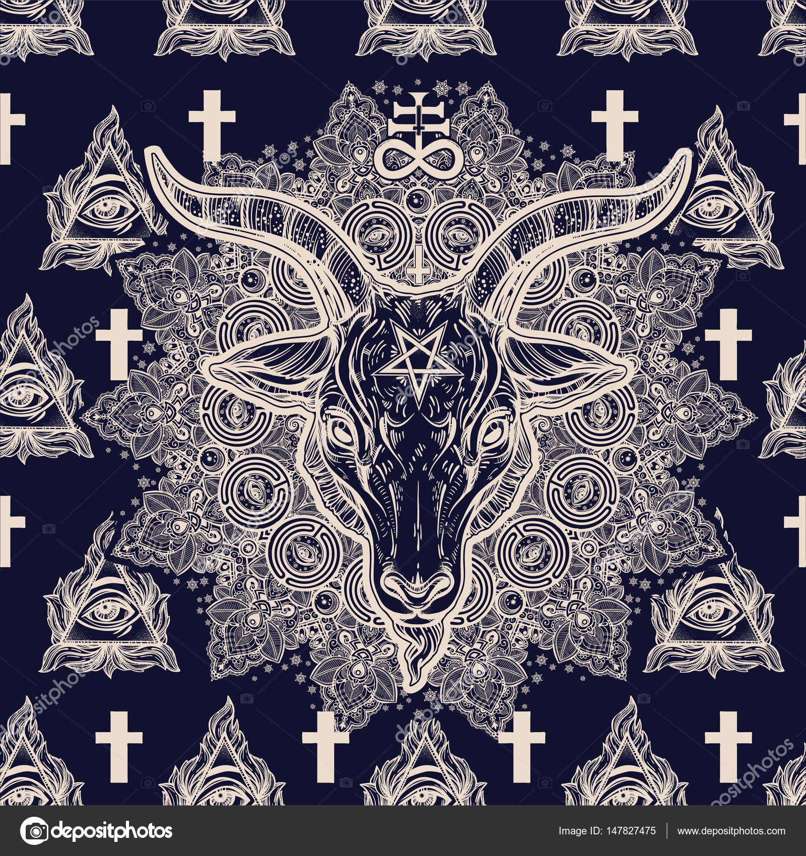 Eye cross mandala seamless pattern with satan stock vector satanic eye pyramidal symbol and cross ornate round mandala seamless pattern with demon baphomet pagan goat head isolated repetition background biocorpaavc