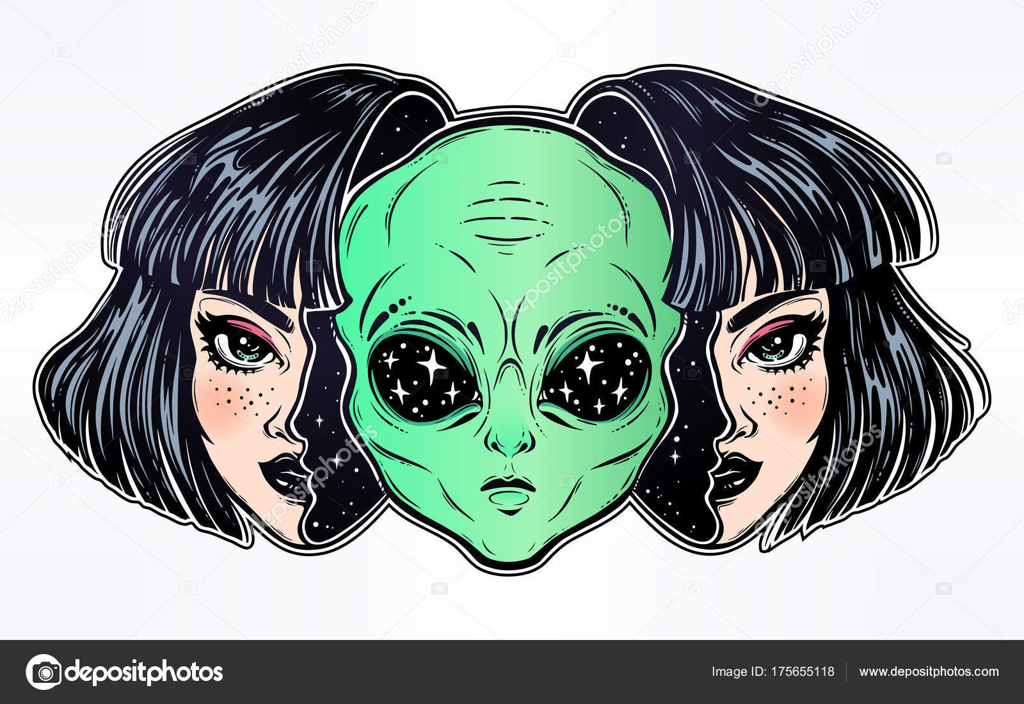 Alien del espacio exterior cara disfrazada como una niña — Archivo ...