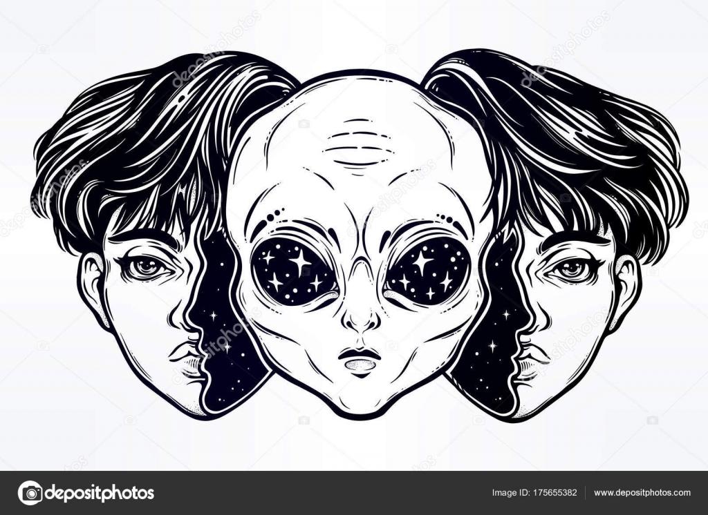 Alien del espacio exterior cara disfrazada como muchacho — Archivo ...