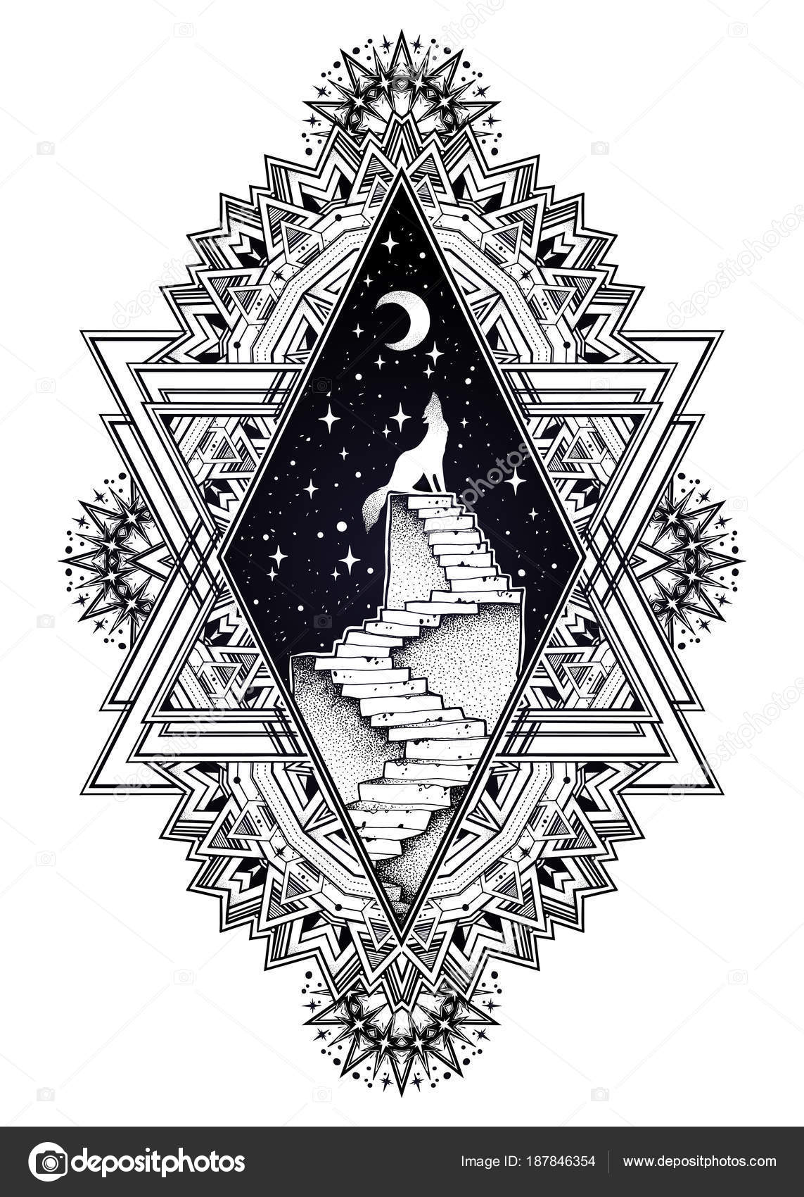 Marco adornado decorativo, escalera al cielo, lobo — Archivo ...