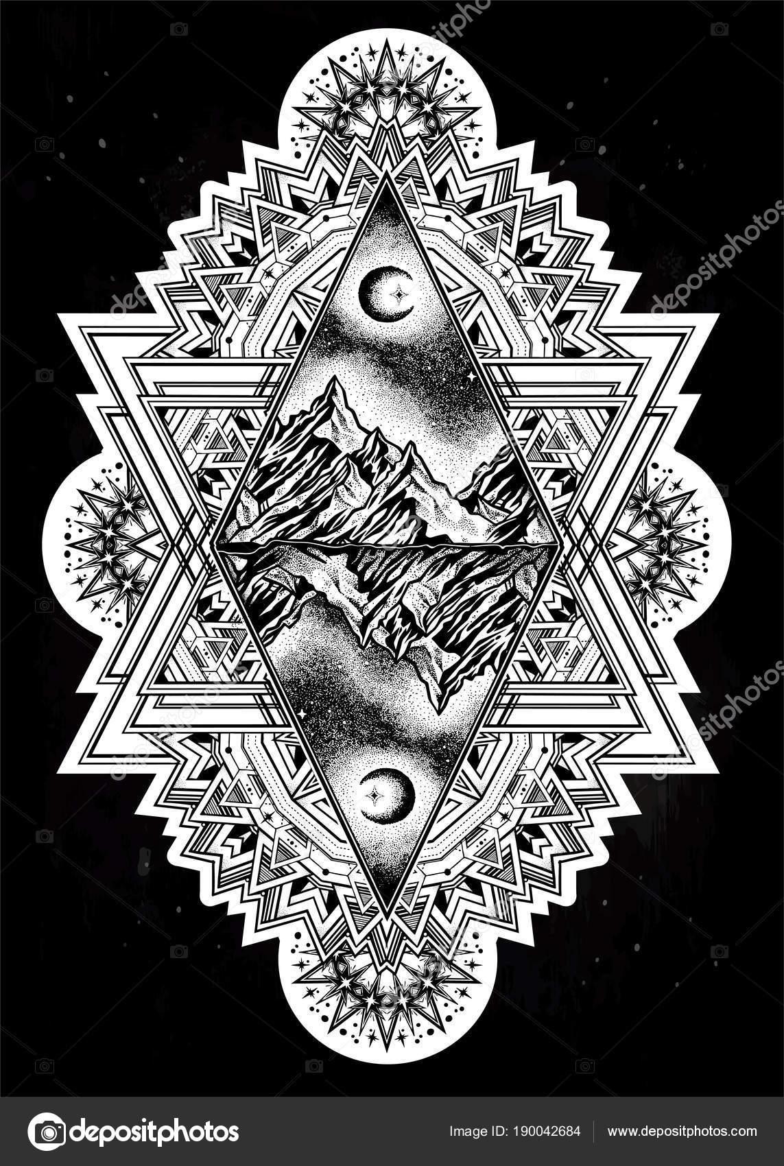 Paisaje de montaña de bosque marco adornado decorativo — Vector de ...