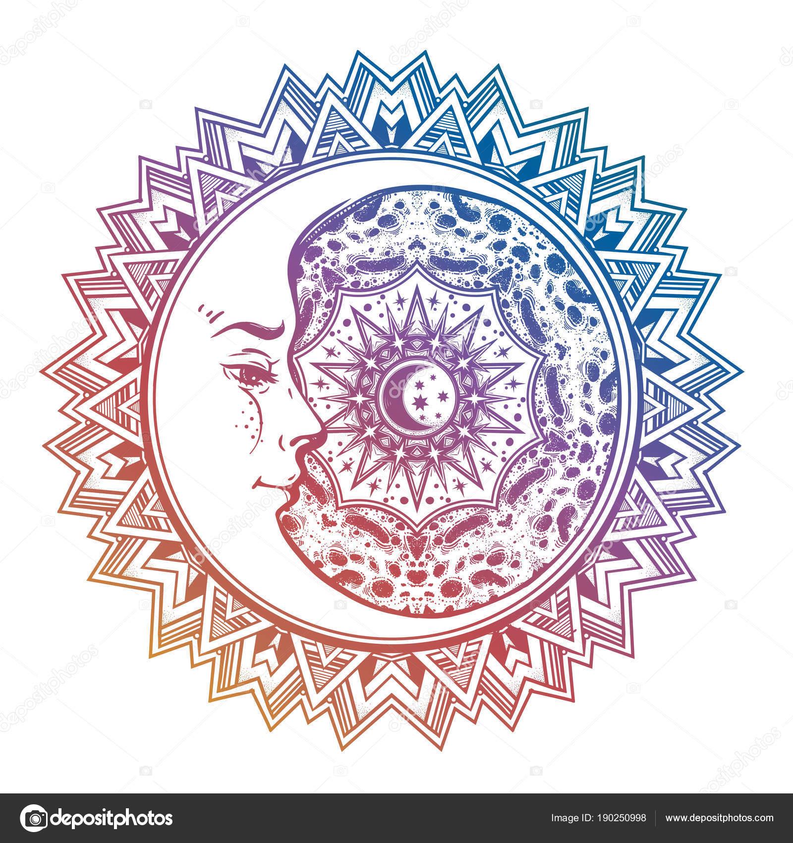 Mandala de l\'espace avec le visage du Croissant-Rouge, soleil ...
