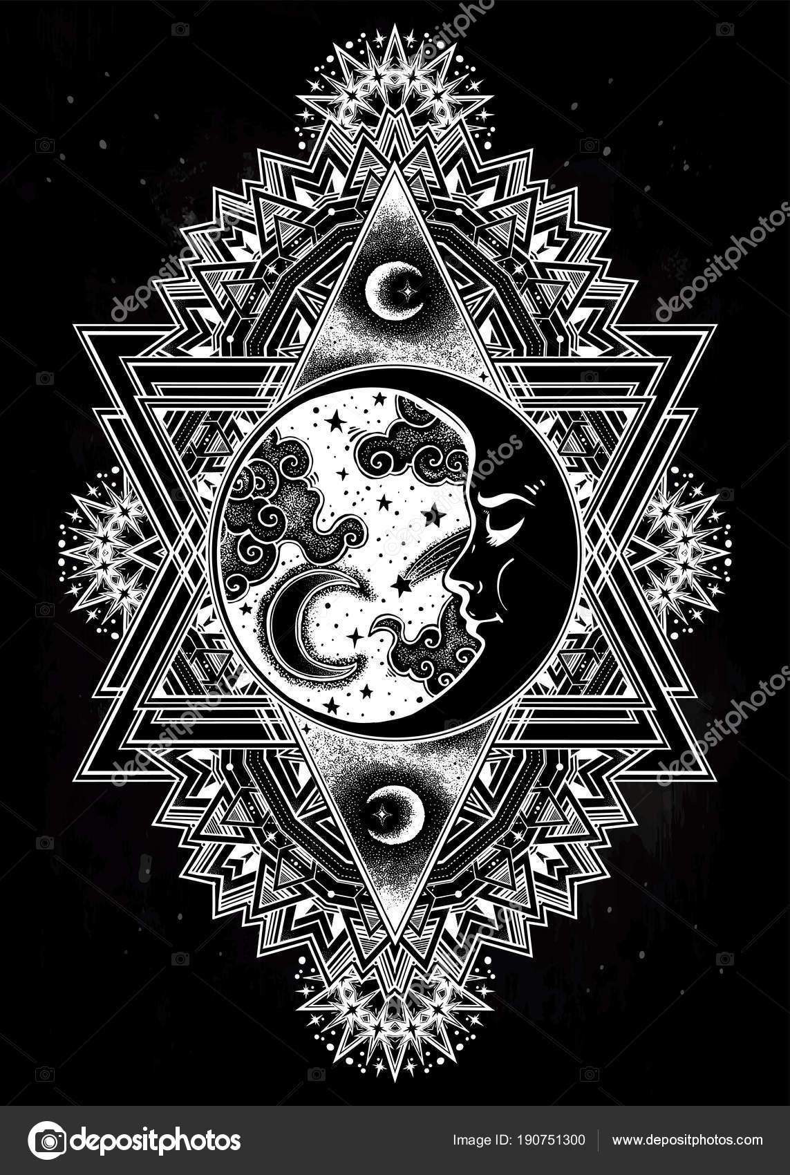 Rahmen mit Mondsichel Gesicht, Sternen und Wolken — Stockvektor ...