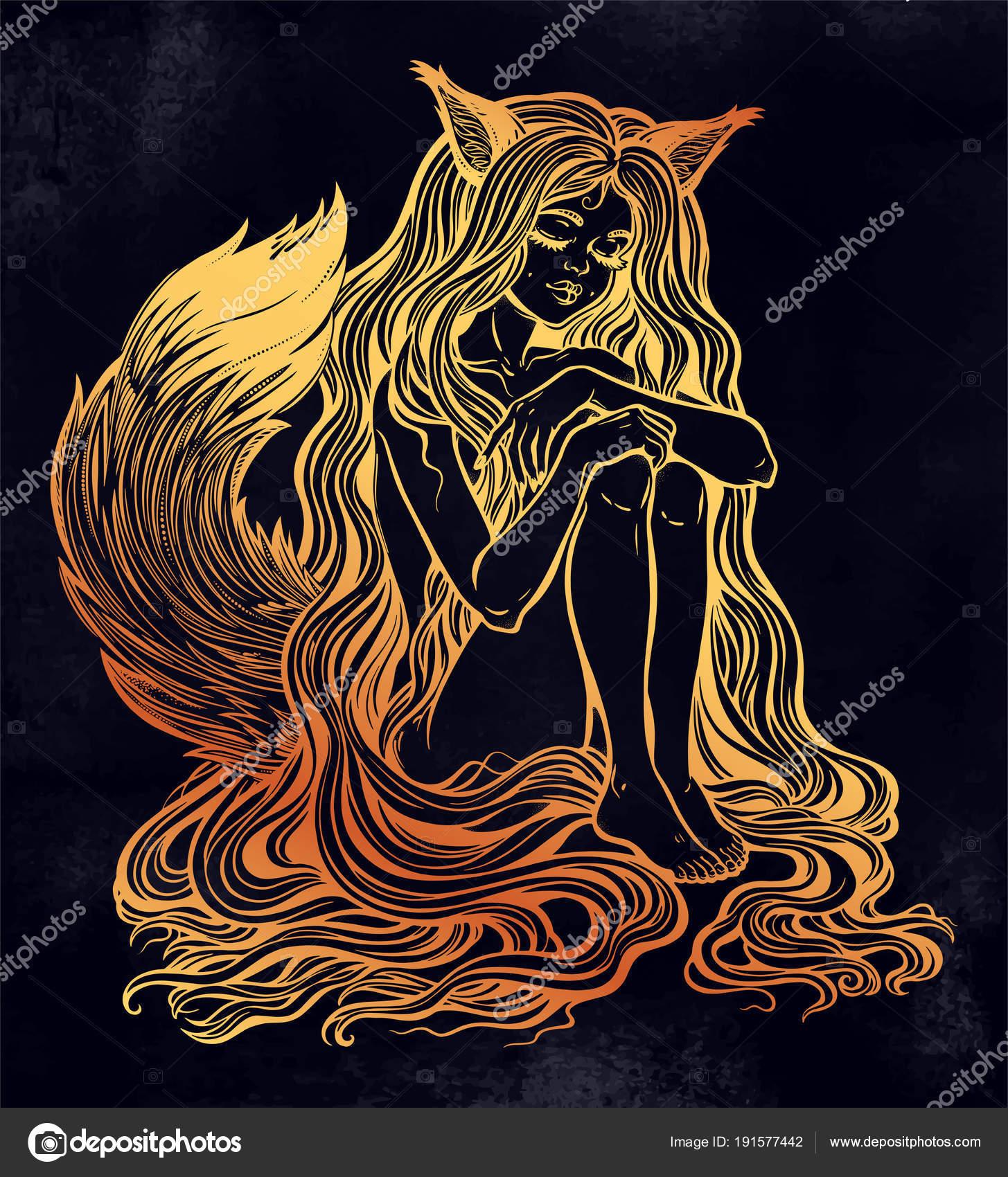 Kitsune de Fox como chica con el pelo largo, cola peluda — Archivo ...