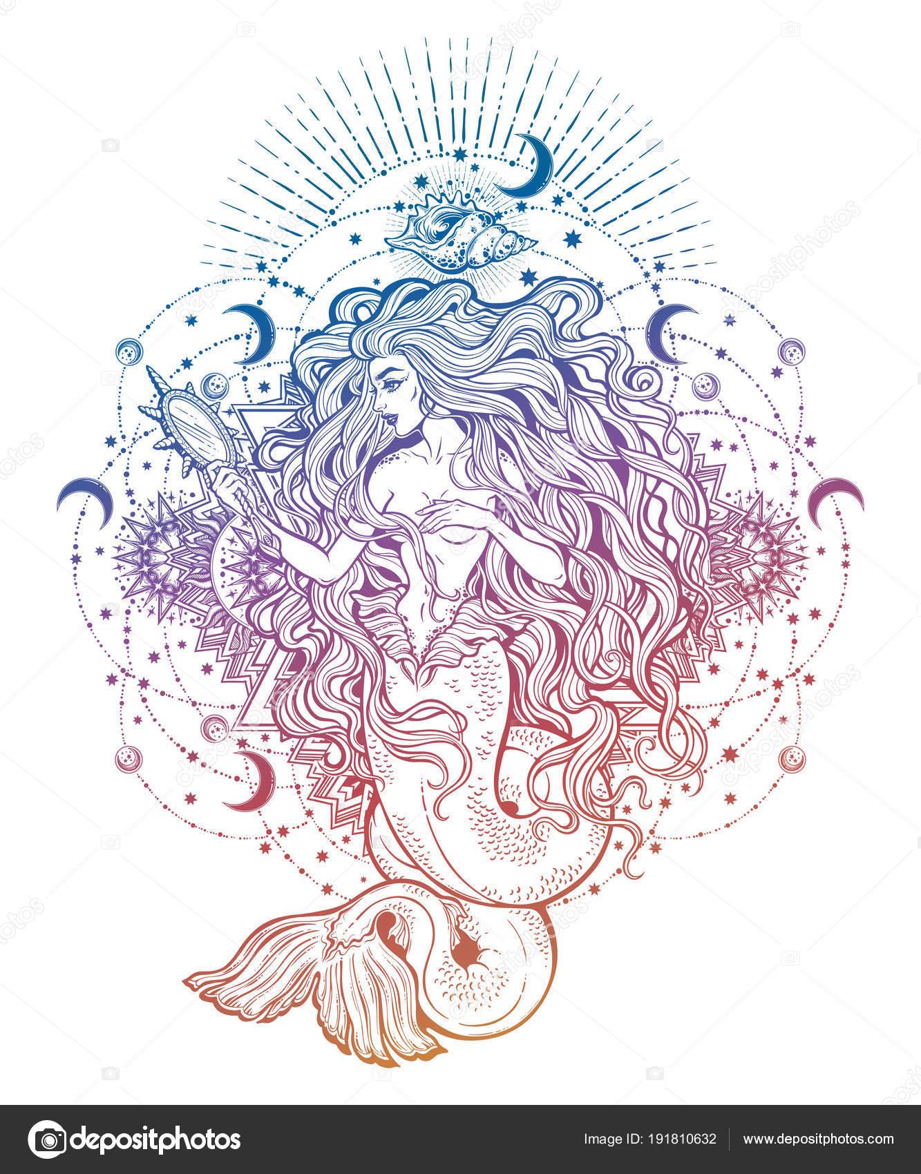 Mermaid Girl With Magic Mirror In Ornate Mandala Stock Vector C Katja87 191810632