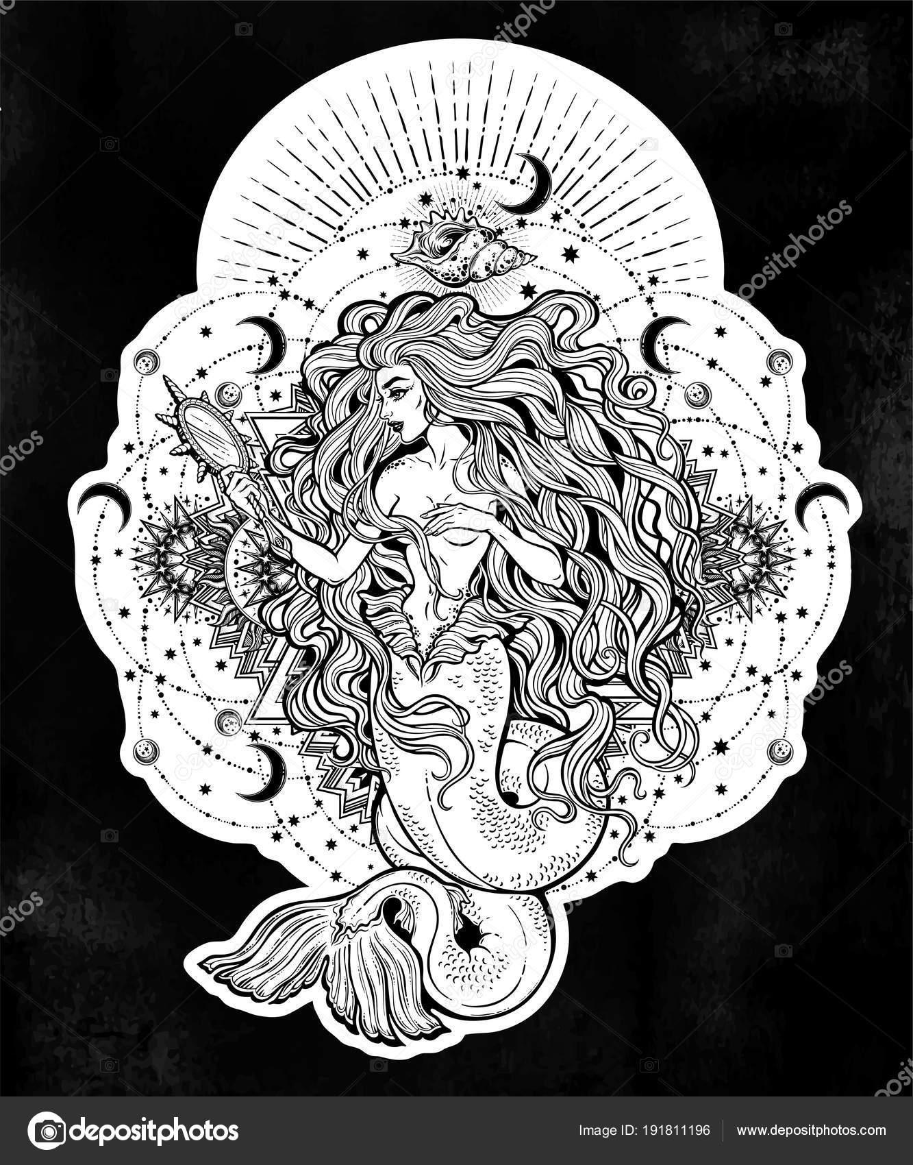 Mermaid girl with magic mirror in ornate mandala Stock Vector
