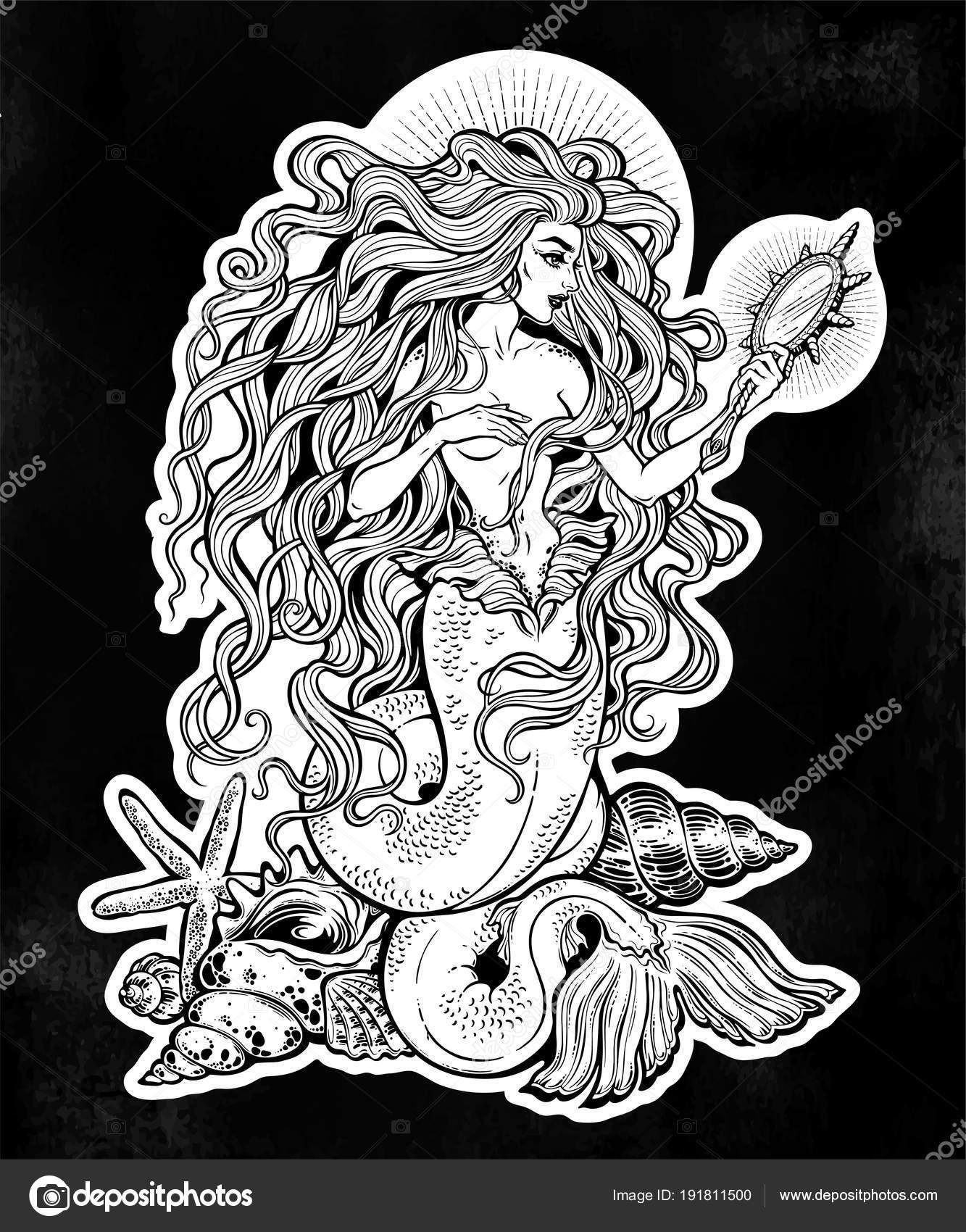 Красивая русалка с волшебным зеркалом — Векторное ...