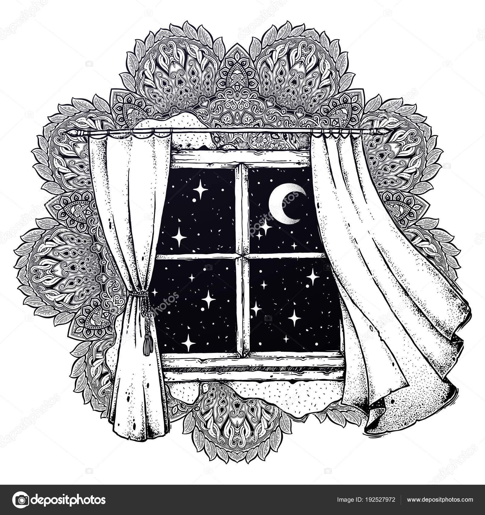 mandala mit fenstervorh nge mit mond sternenhimmel. Black Bedroom Furniture Sets. Home Design Ideas