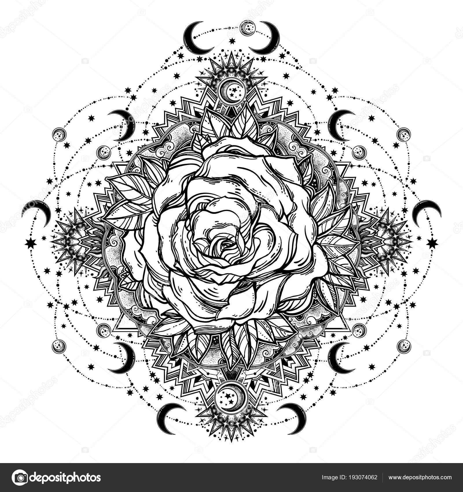 Imágenes Flores Y Estrellas Para Colorear Rosa Flor Mandala De