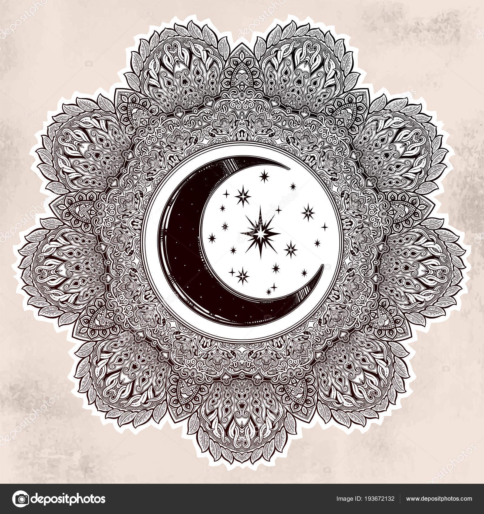 Hermoso Adornado Mandala Luna Forma De Estrella Archivo Imágenes