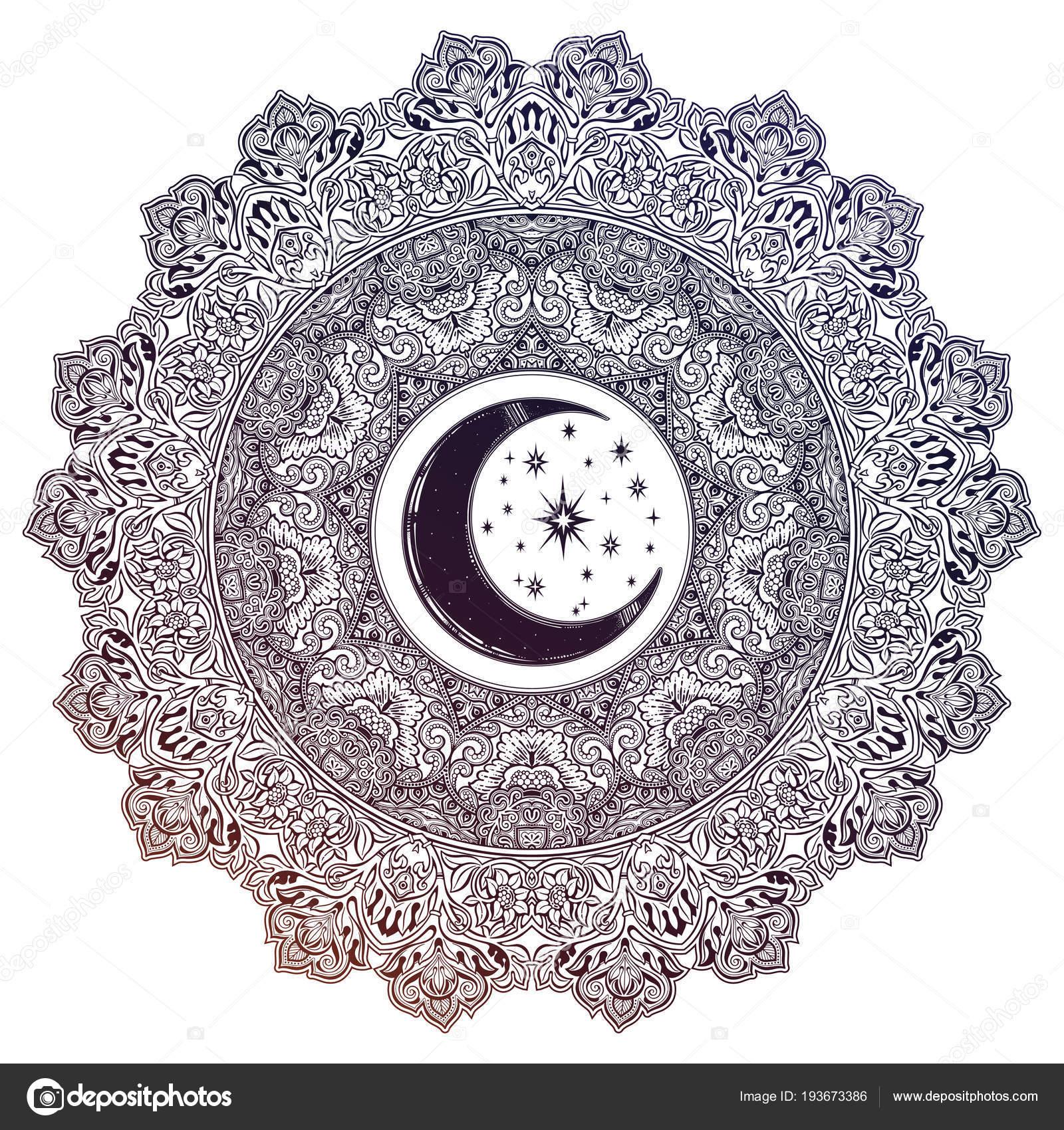 Mandalas En Forma De Luna Hermoso Adornado Mandala Luna Forma De
