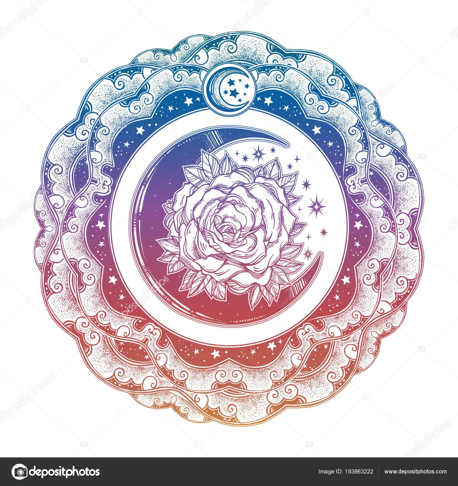 Marco con luna rosa, noche de estrellas nubes — Archivo Imágenes ...