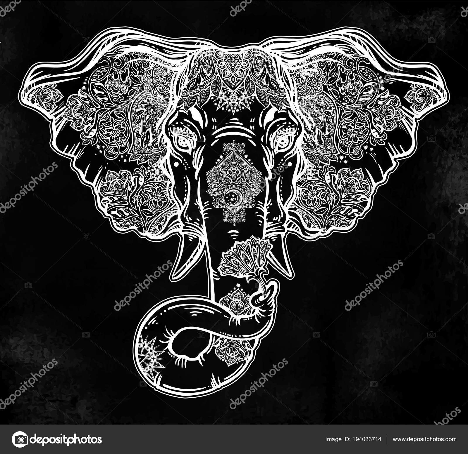 Decorative Elephant Portrait With Beautiful With Lotus Flower