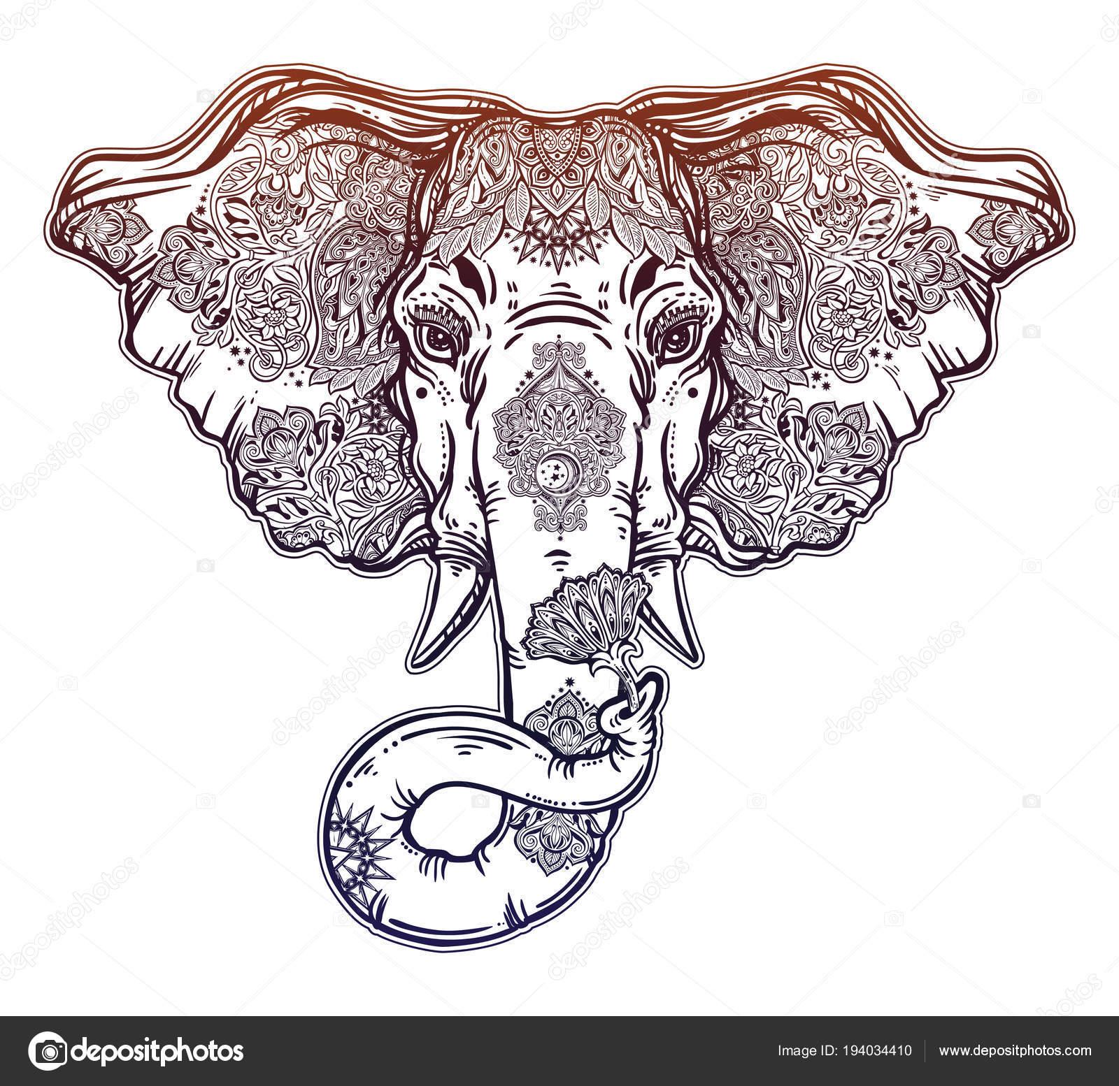 Decorative elephant portrait with beautiful with lotus flower ornate inked decorative elephant portrait with beautiful lotus flower lord ganesha african indian arab tribal spiritual animal mightylinksfo