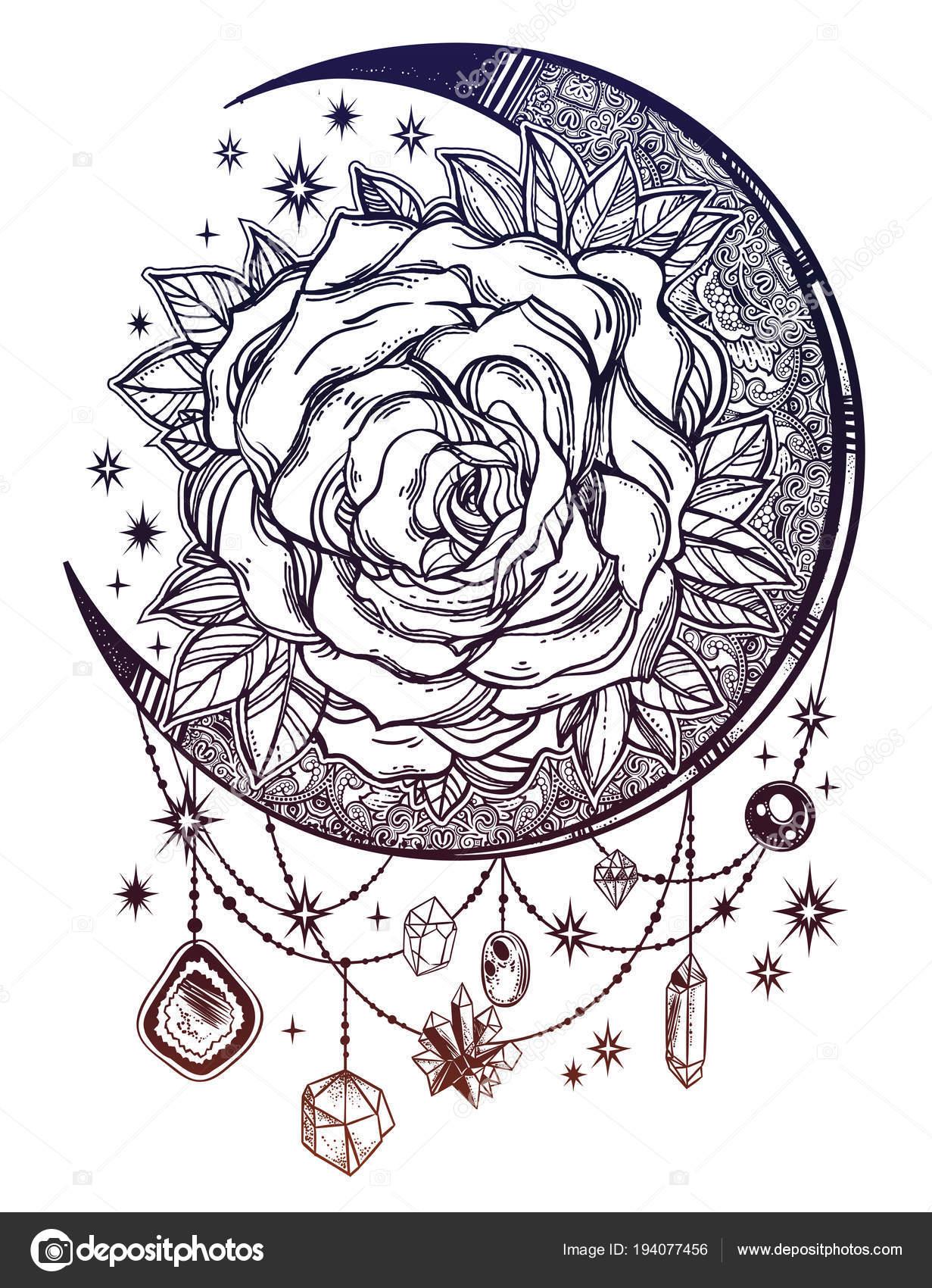 ddadf3bed4d2 Vintage floral mano dibujado composición luna rosa con perlas y piedras  preciosas de cristal. Motivo victoriano