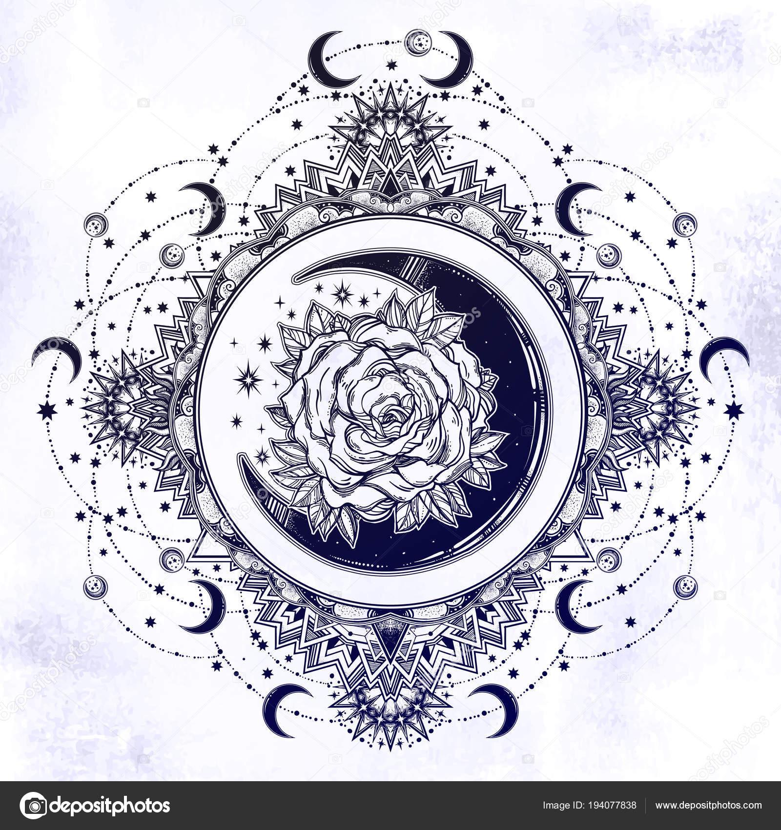 Vintage Fleuri Rond Cadre Avec Croissant De Lune Rose Image