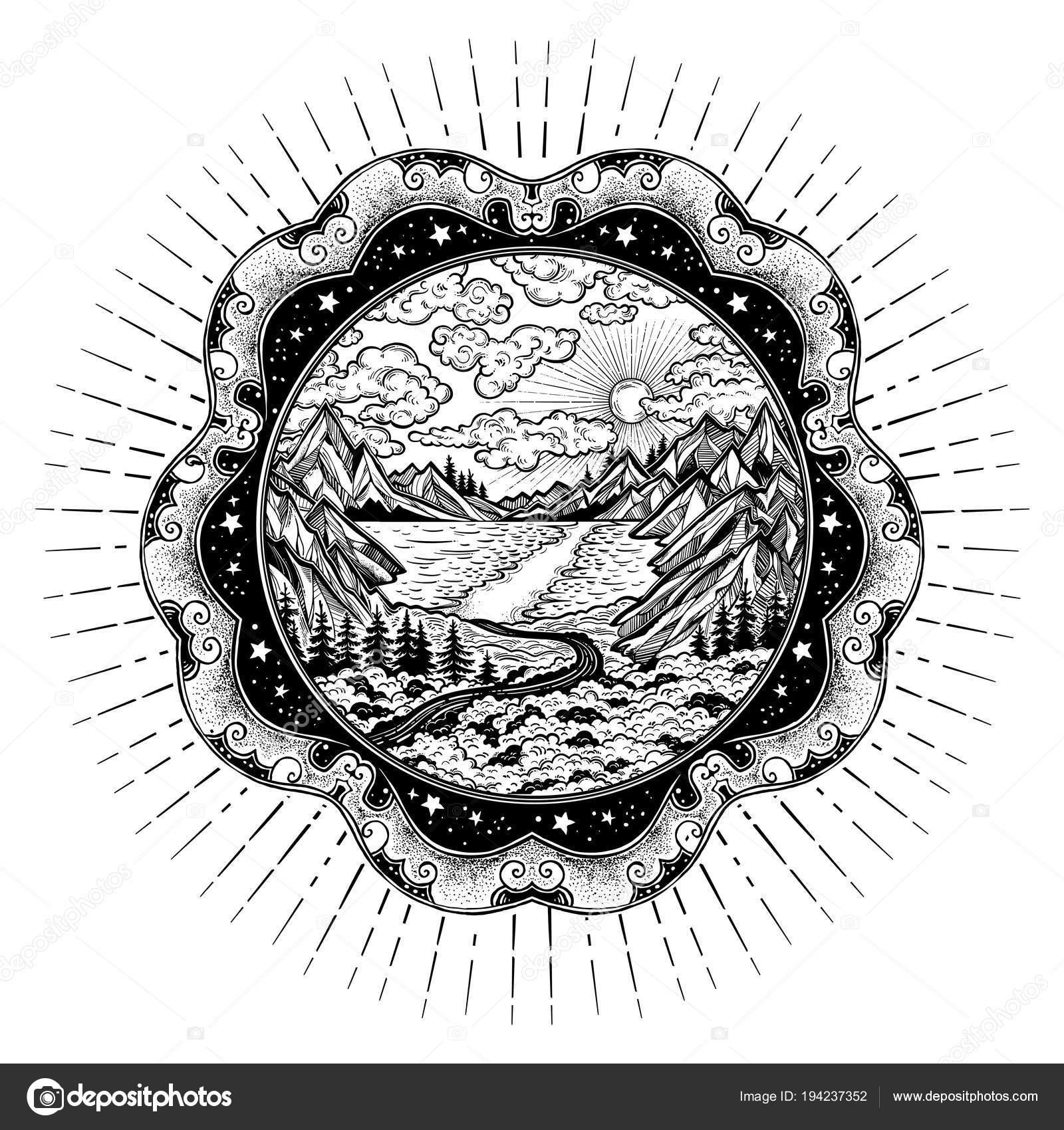 Marco adornado con paisaje, bosque y montañas — Vector de stock ...