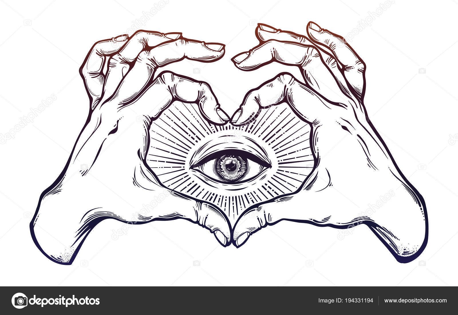 Two Hands Heart Sign With All Seeing Eye Symbol Stock Vector