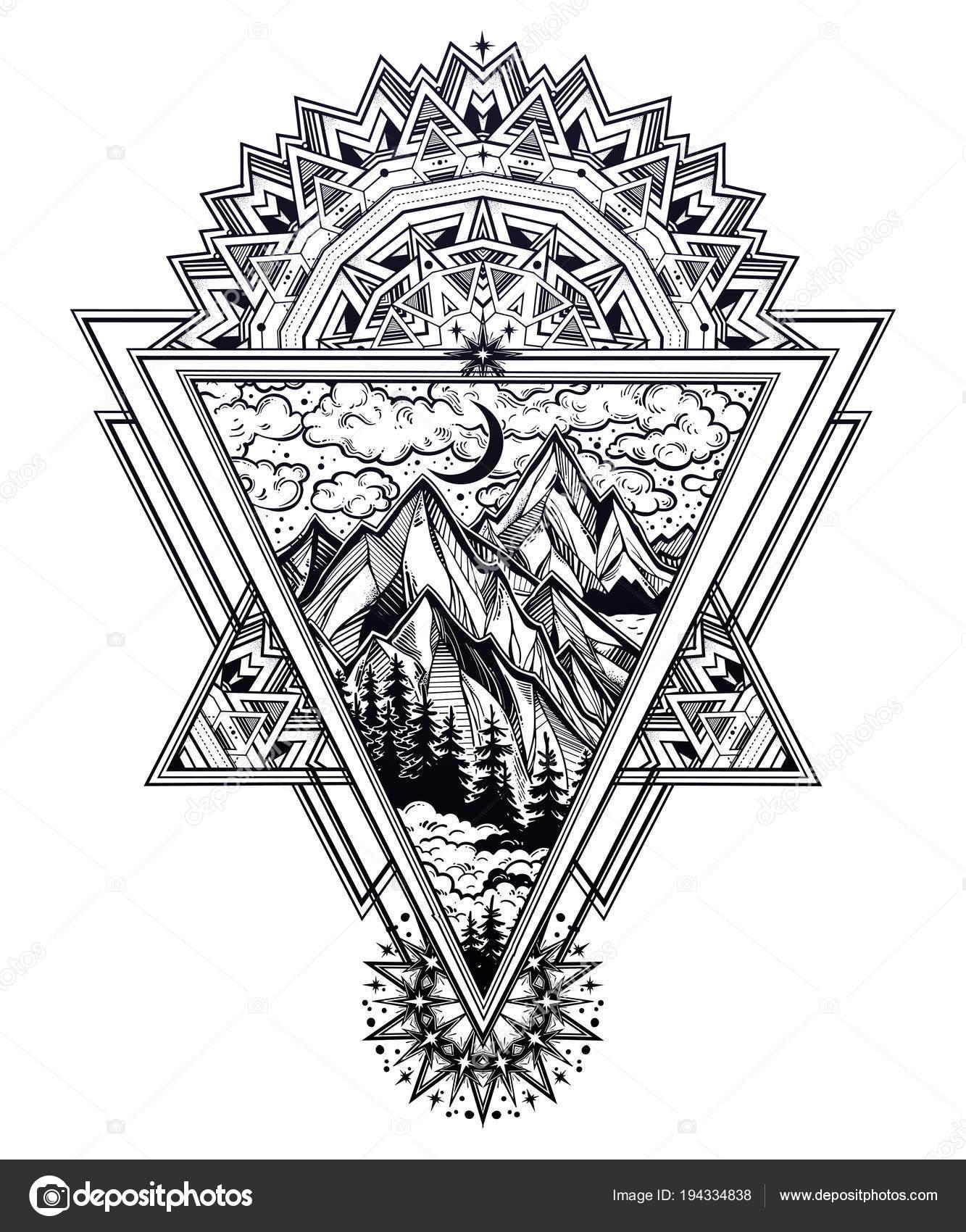 Marco de triángulo con el paisaje de bosques y montañas — Archivo ...
