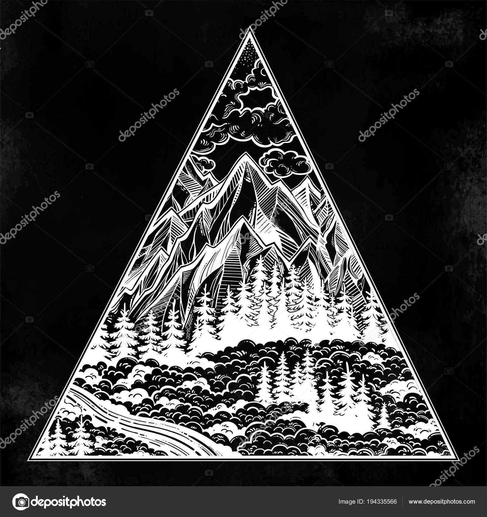 Dreieck-Rahmen mit Landschaft Wald und Berge — Stockvektor © Katja87 ...