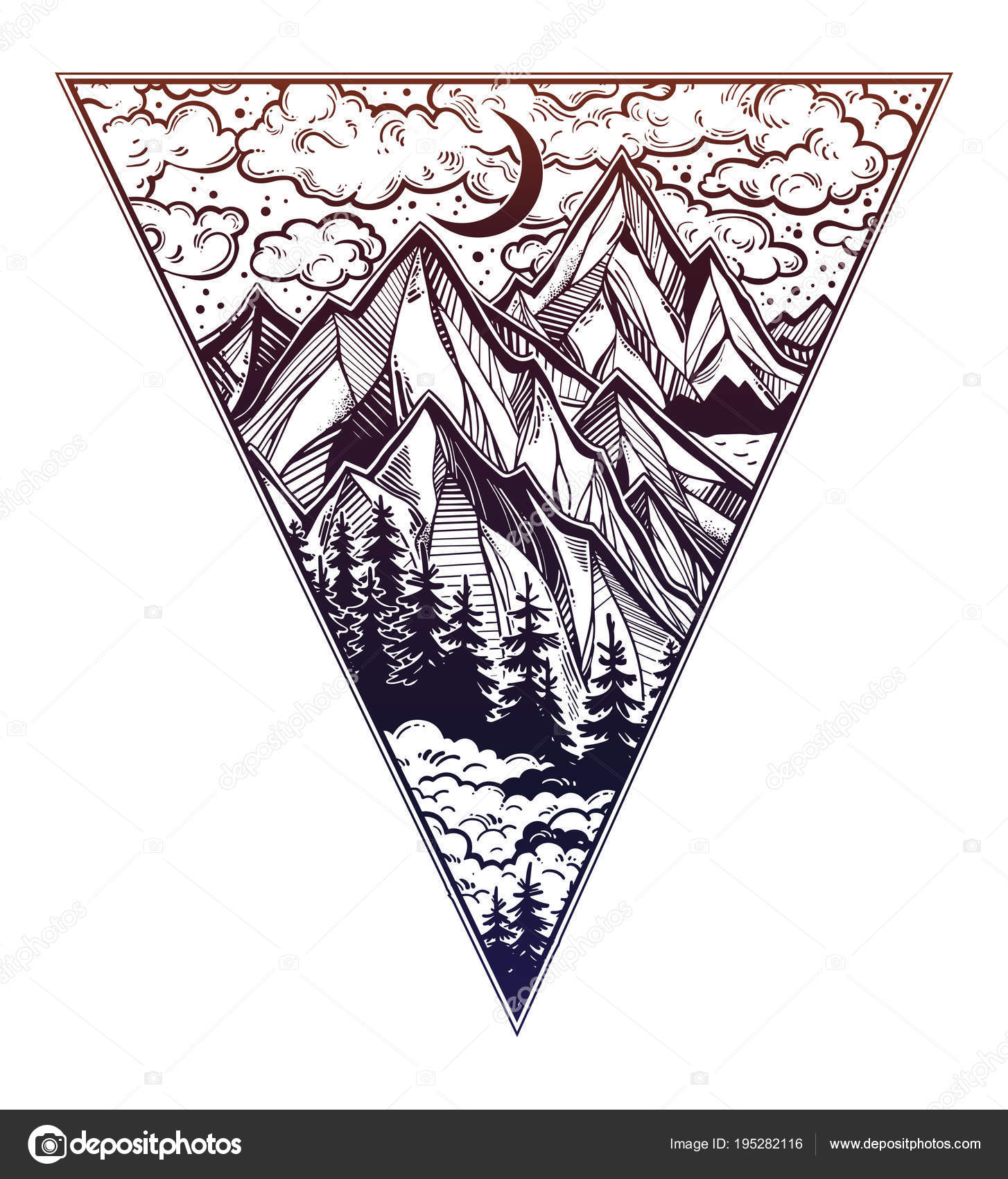 Triangle frame with landscape forest and mountains. — Stock Vector ...