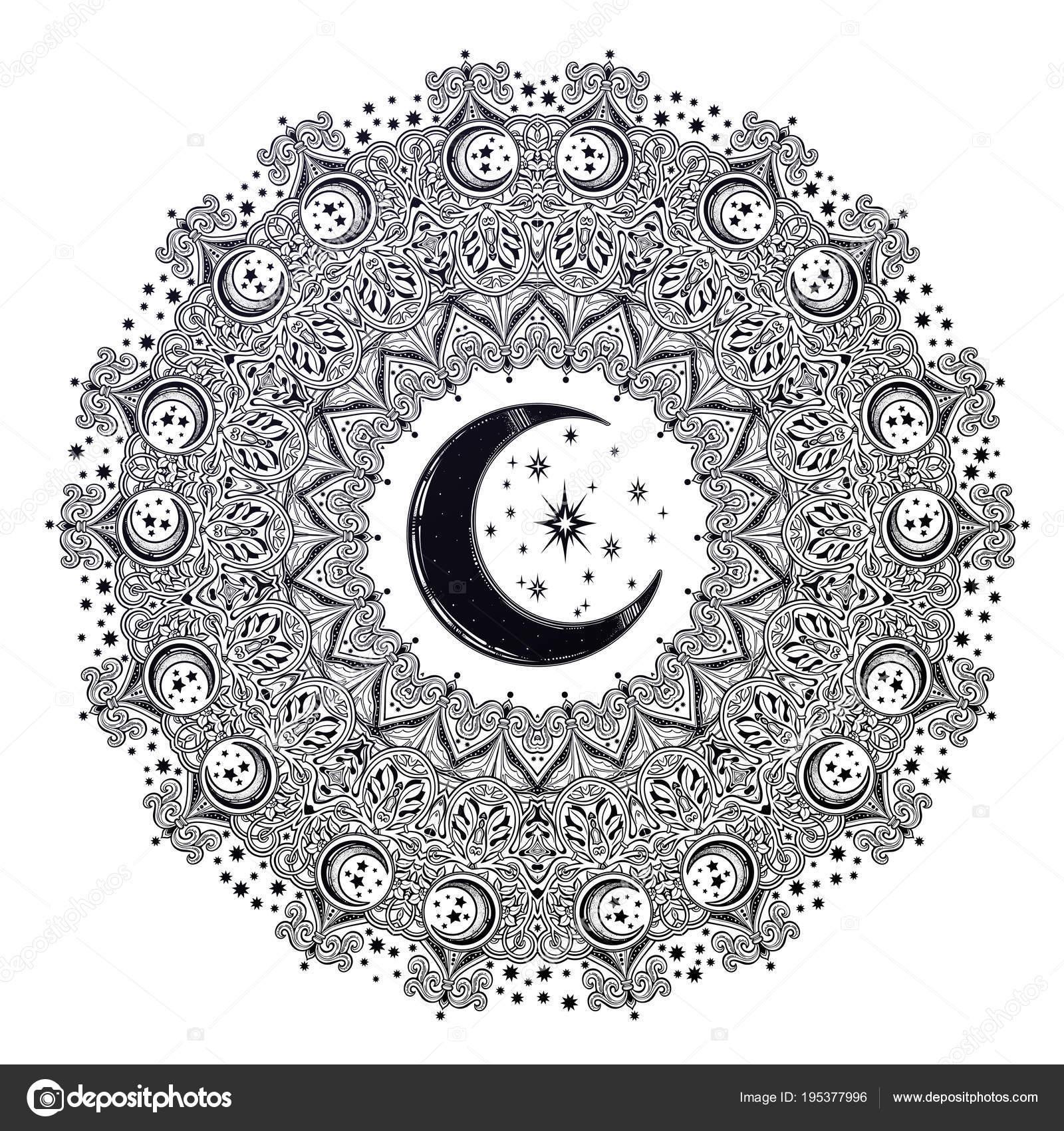 Hermoso Adornado Mandala Luna Forma De Estrella Vector De Stock