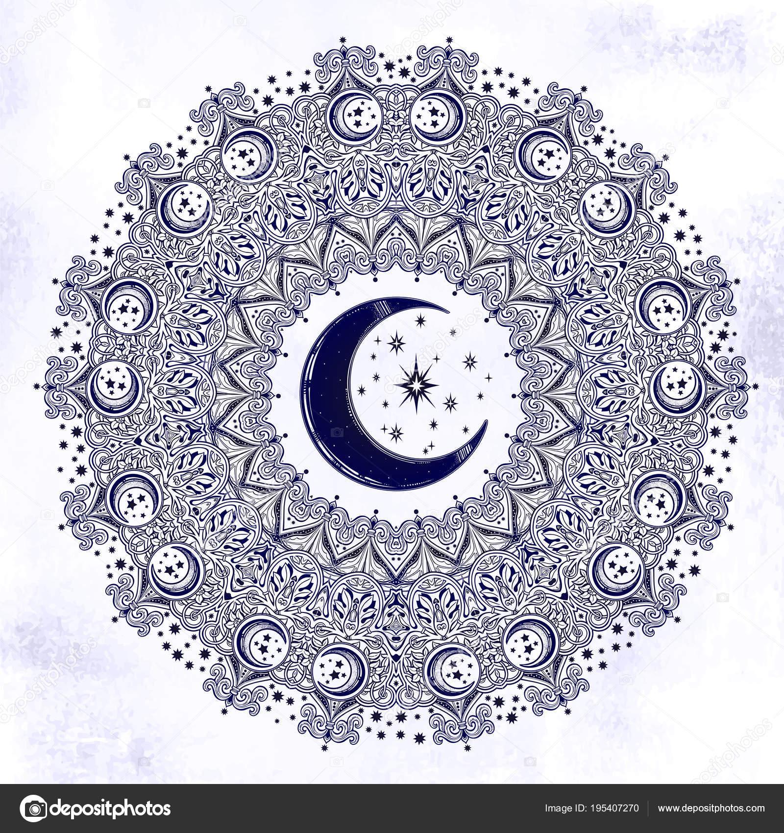 Magnifique Orne Mandala Croissant De Lune Forme D Etoile Image