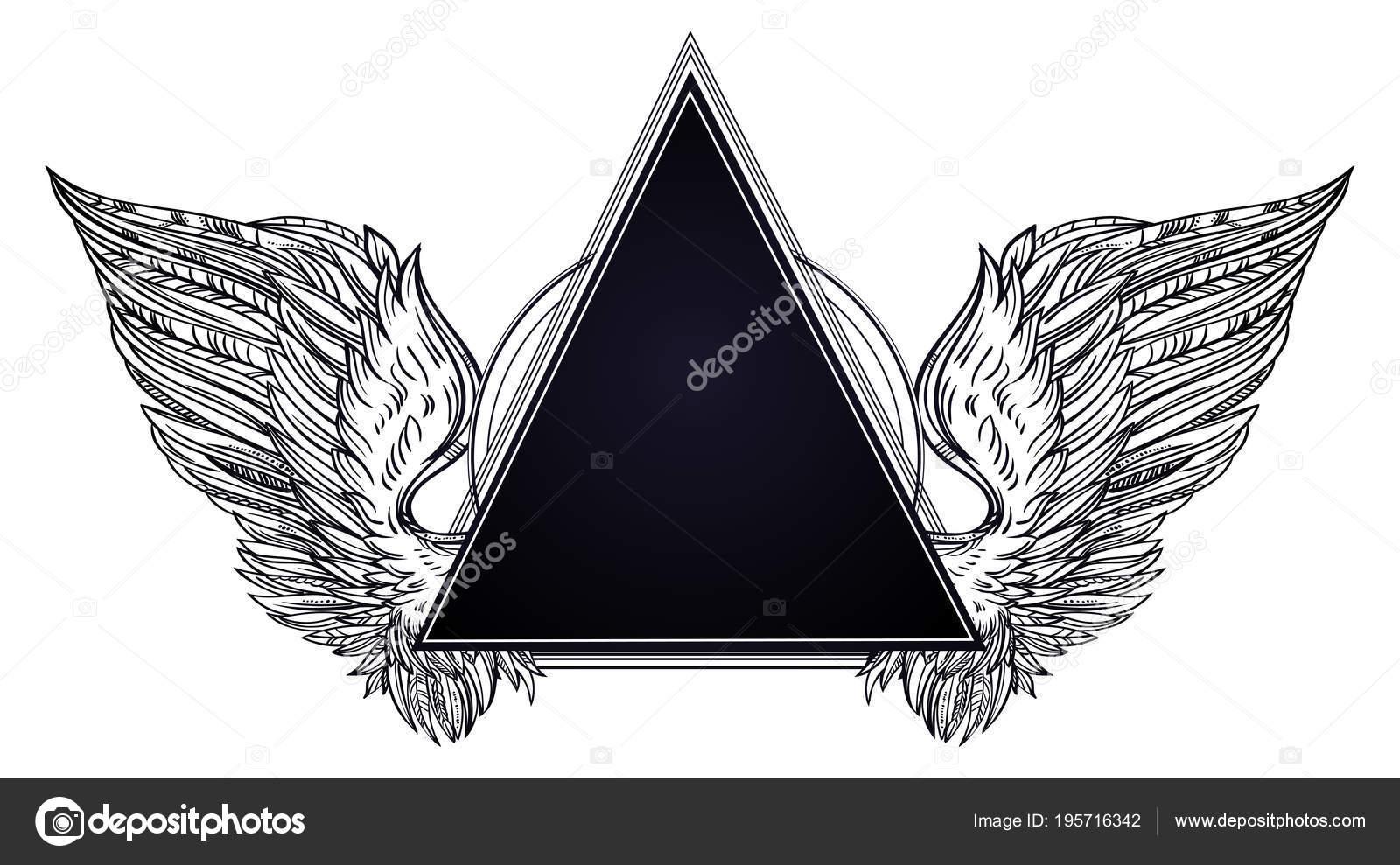 Surreale Dreieck Rahmen mit Engel oder Vogel Flügel Tattoo Flash ...