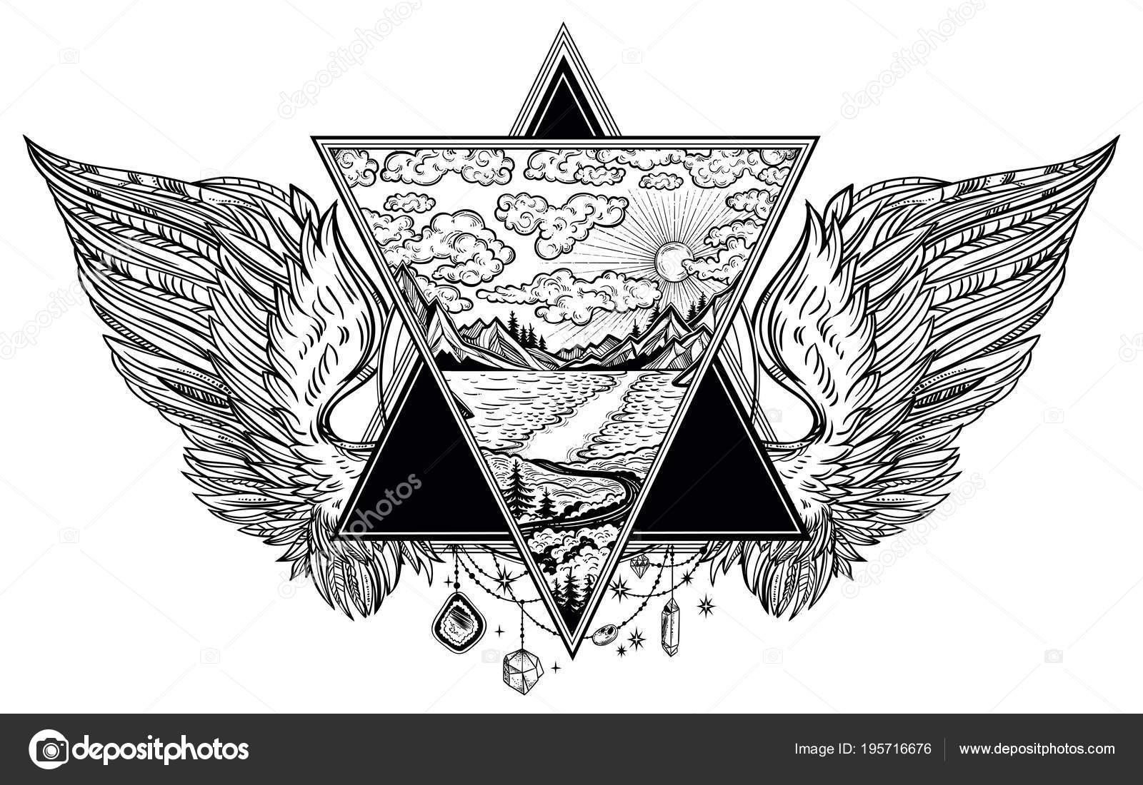 Marco moldeado triángulo con alas de Ángel o pájaro en estilo flash ...