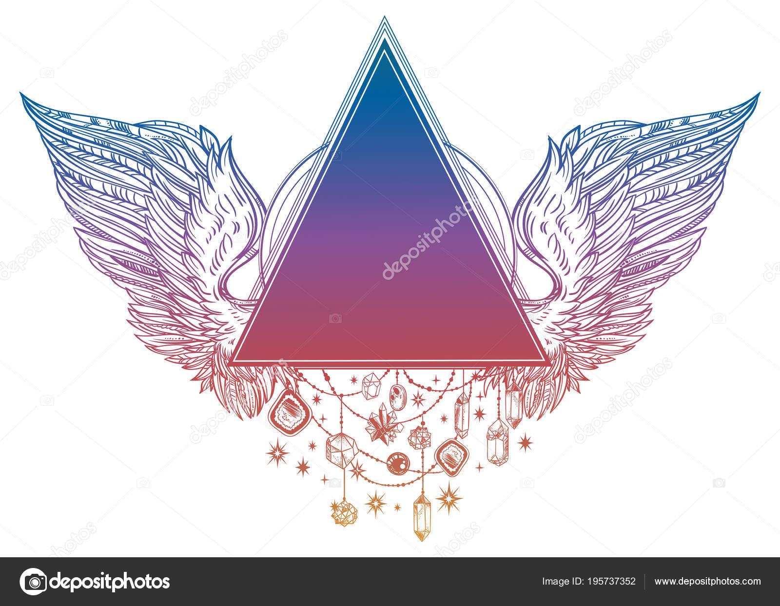Triángulo surrealista de cuentas marco con angel o alas de ave en ...