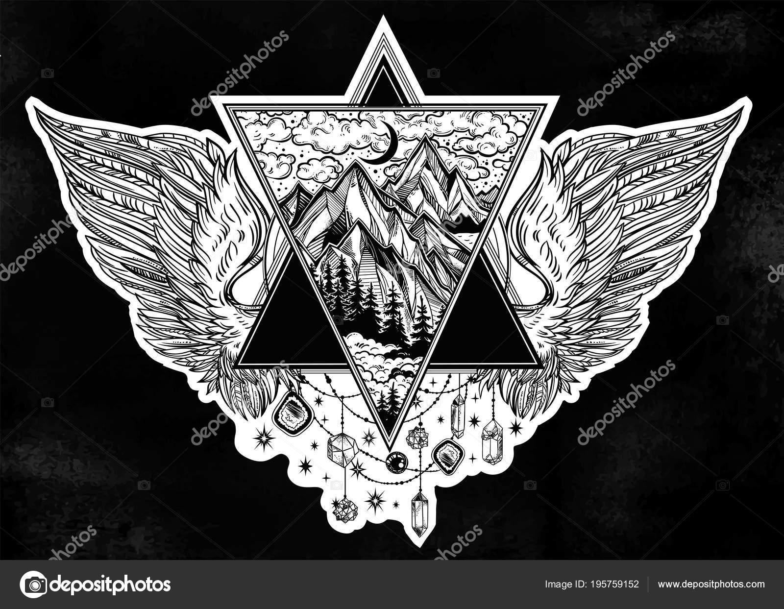 Wulstige Dreieck Rahmen mit Engel oder Vogel Flügel Tattoo Flash ...