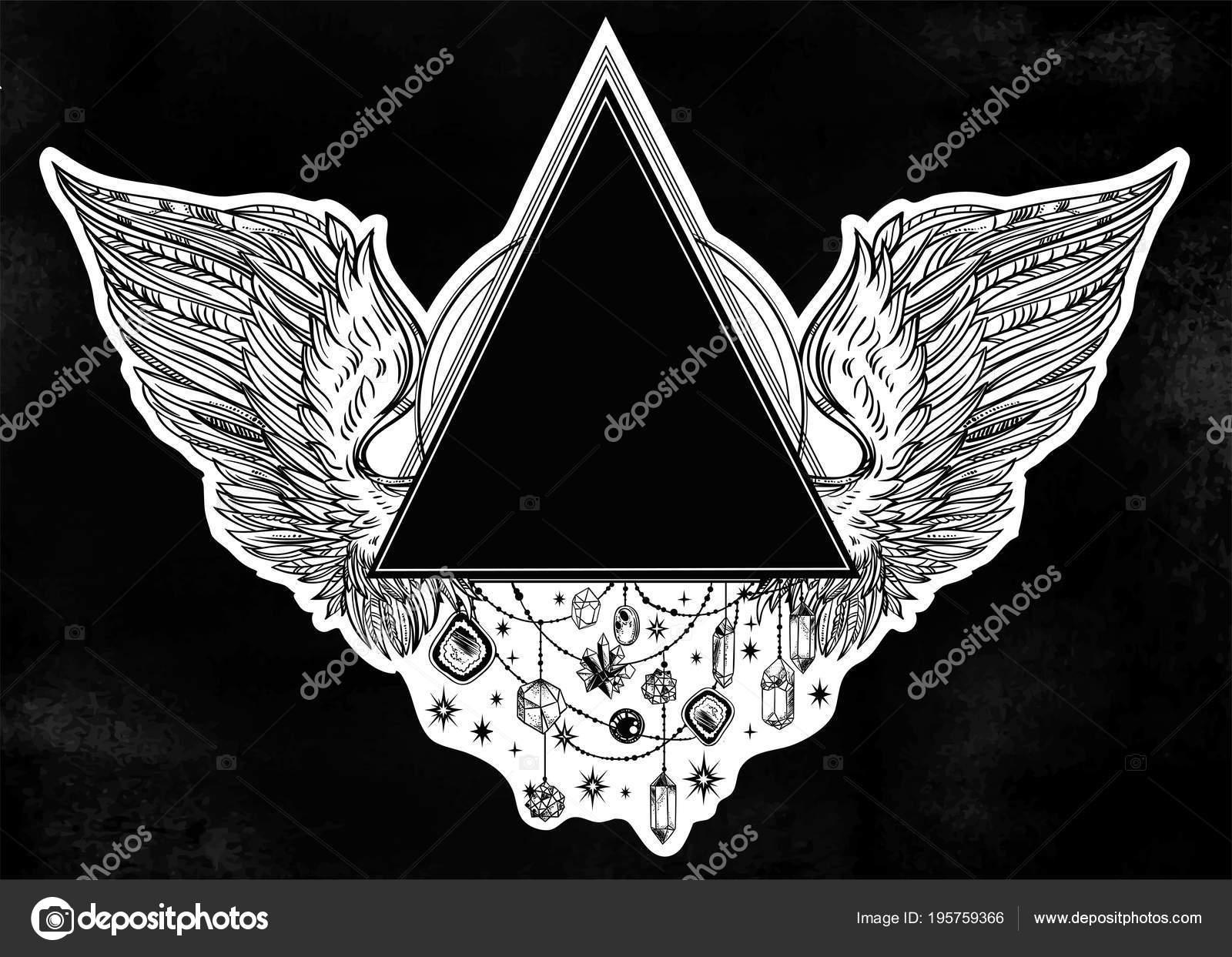 Surreale Dreieck Perlen Rahmen mit Engel oder Flügel in Tattoo Flash ...