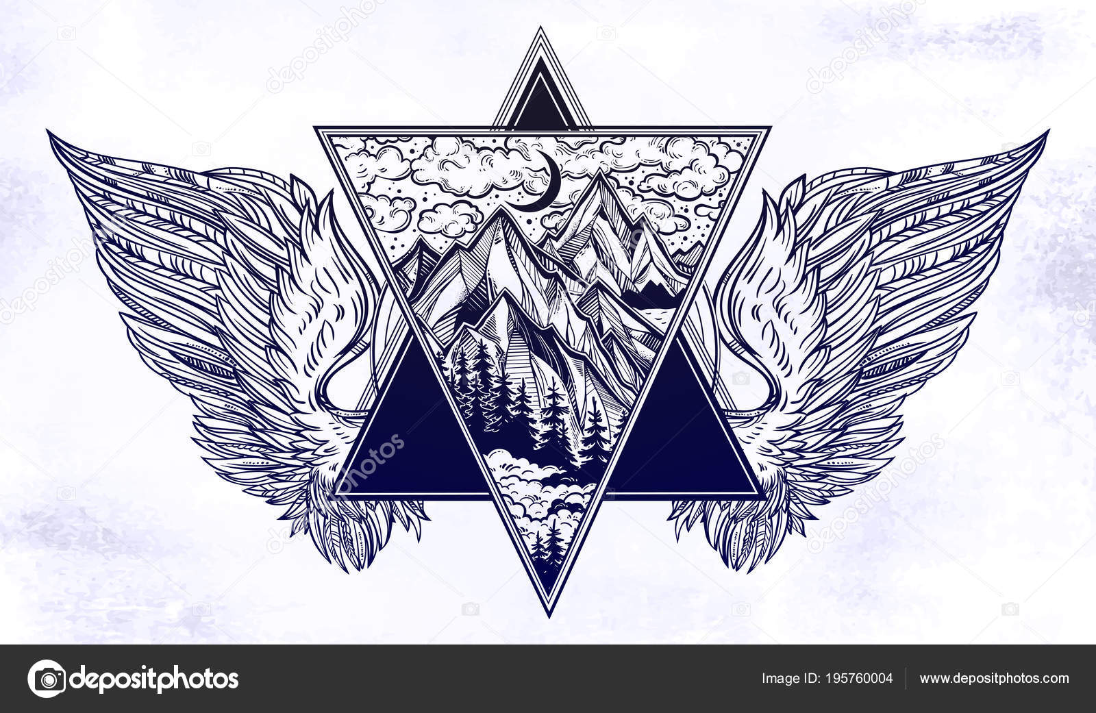 Quadro De Triângulo Surreal Com Asas De Anjo Ou Pássaro No
